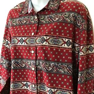 Lizwear Medium Button Front Shirt Paisley Red L/S